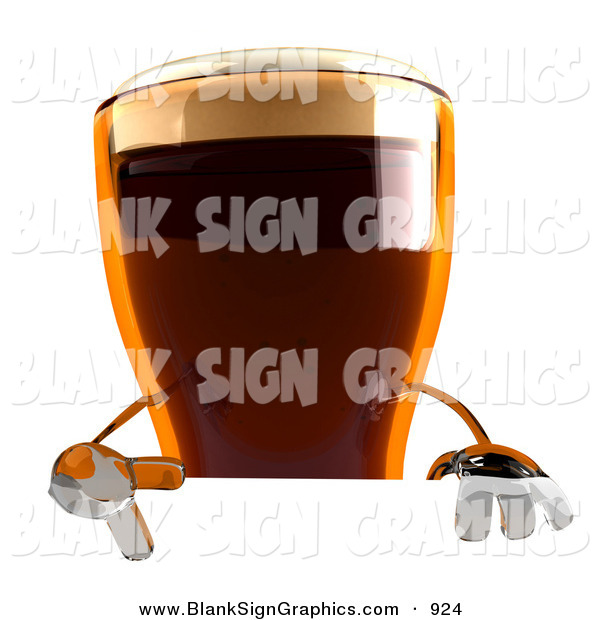 Vector Illustration of a 3d Root Beer Character Gesturing a Peace Sign and Standing Behind a Blank White Sign