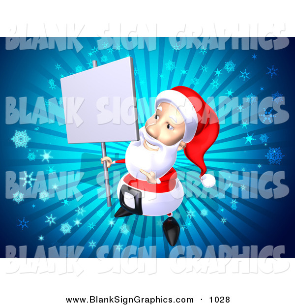 Vector Illustration of a 3d Santa Character Holding up a Blank Sign on a Post over Blue