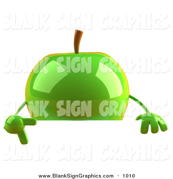 Vector Illustration of a 3d Shiny Green Apple Character Pointing to and Standing Behind a Blank Sign