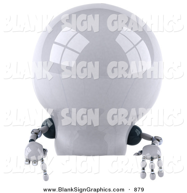 Vector Illustration of a 3d Shiny Robotic Lightbulb Character Pointing down at and Standing Behind a Blank Sign