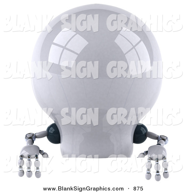 Vector Illustration of a 3d Shiny Robotic Lightbulb Character Standing Behind a Blank Sign