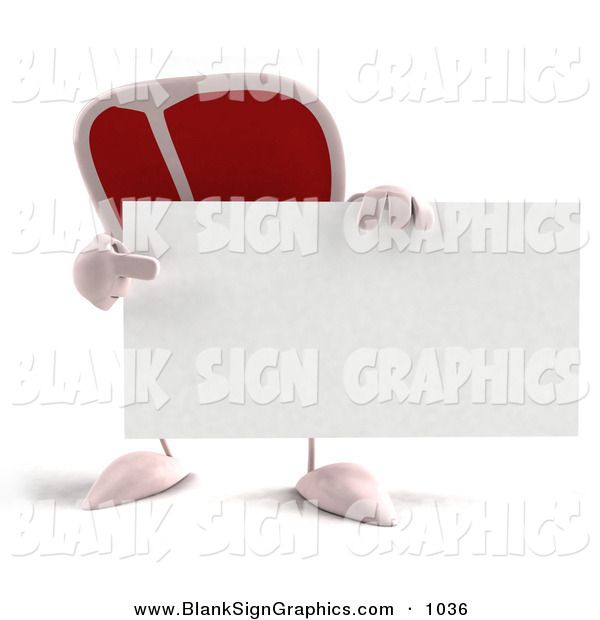 Vector Illustration of a 3d Steak Character Holding a Blank Business Card on White