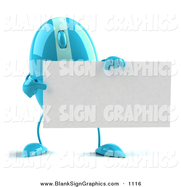 Vector Illustration of a 3d Striped Blue Computer Mouse Character Holding a Blank Business Card