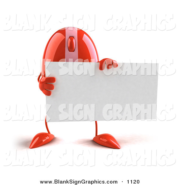 Vector Illustration of a 3d Striped Red Computer Mouse Character Holding a Blank Business Card