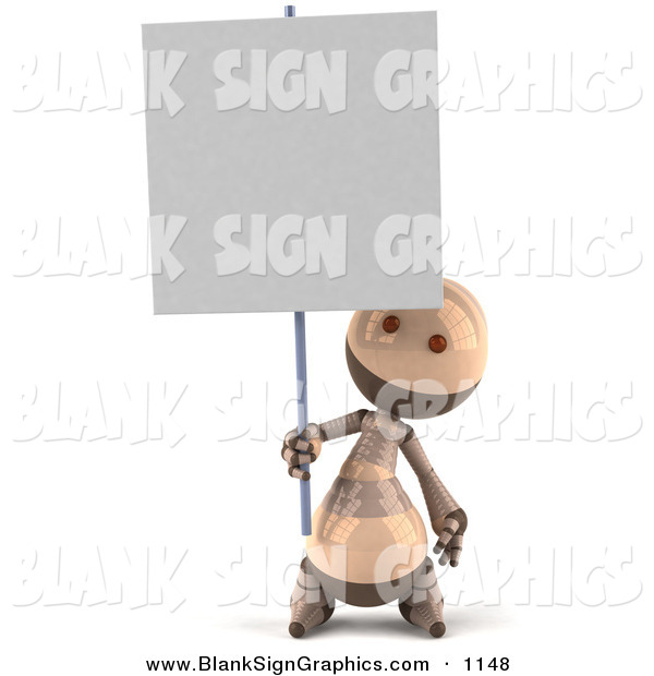 Vector Illustration of a 3d Tan Robie Robot Character Holding up a Blank Sign