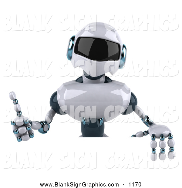 Vector Illustration of a 3d Techno Robot Character Giving the Thumbs up and Standing Behind a Blank Sign, on White
