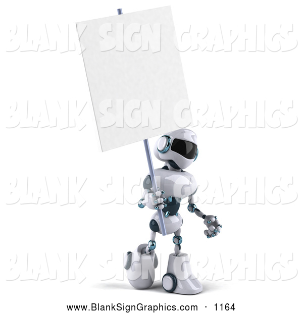 Vector Illustration of a 3d Techno Robot Character Holding a Blank Sign, on White