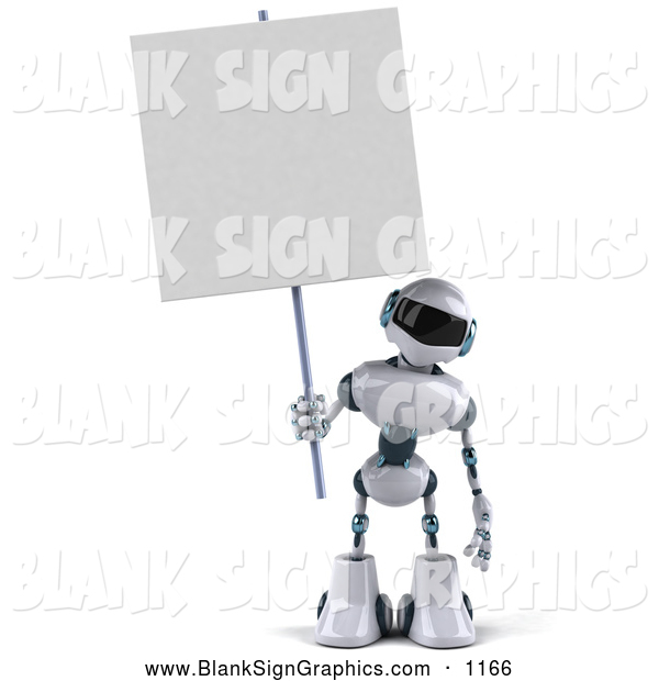 Vector Illustration of a 3d Techno Robot Character Standing and Holding a Blank Sign