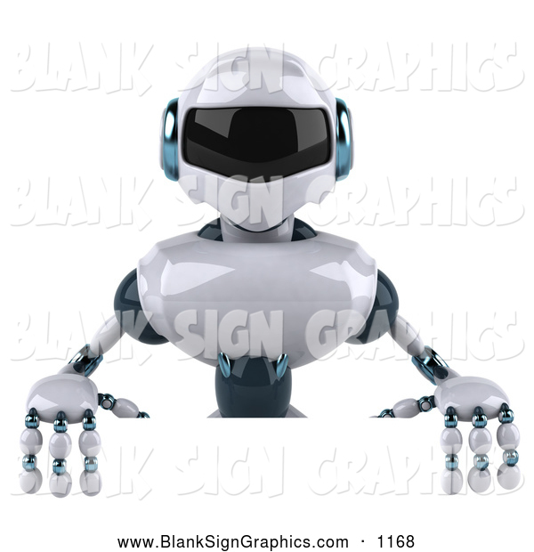 Vector Illustration of a 3d Techno Robot Character Standing Behind a Blank Sign for Advertising
