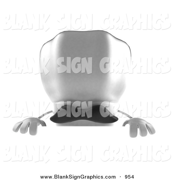 Vector Illustration of a 3d White Chefs Cap Character with a Mustache, Standing Behind a Blank Sign