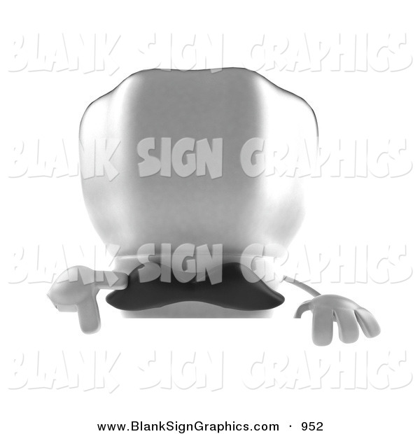 Vector Illustration of a 3d White Chefs Hat Character with a Mustache, Pointing down and Standing Behind a Blank Sign