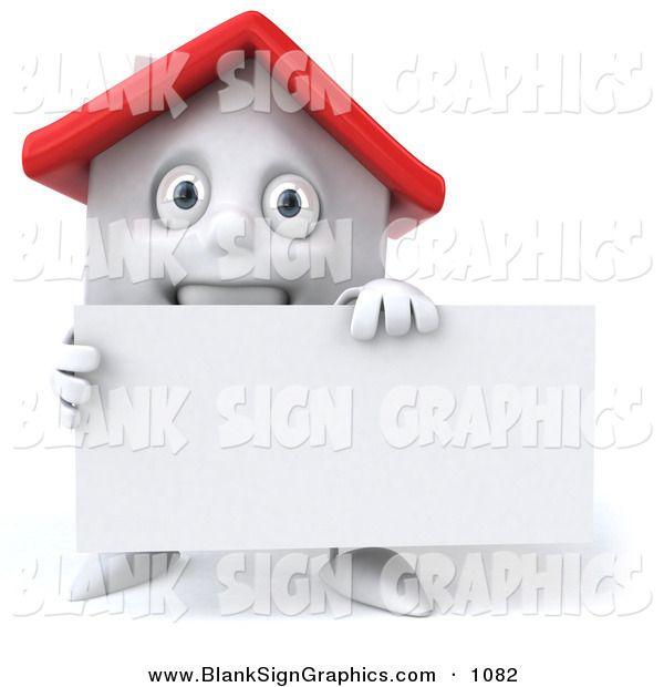 Vector Illustration of a 3d White Clay House Character Holding a Blank Business Card