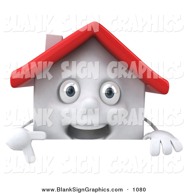 Vector Illustration of a 3d White Clay House Character Pointing down and Standing Behind a Blank Sign