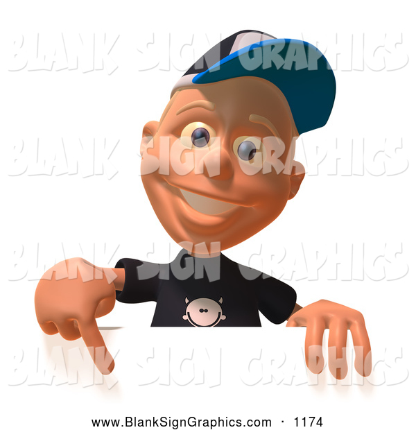 Vector Illustration of a 3d White Male Kid with Baseball Cap Pointing down and Standing Behind a Blank Sign
