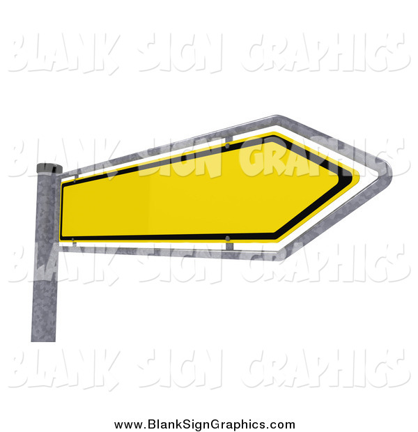 Vector Illustration of a 3d Yellow Arrow Sign