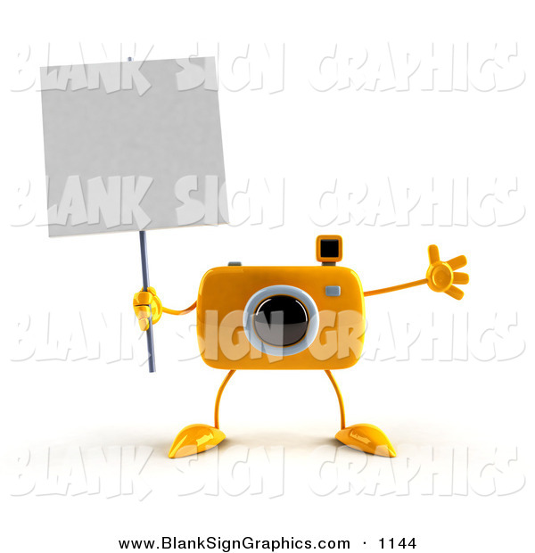 Vector Illustration of a 3d Yellow Camera Boy Character Holding up a Blank Sign, on White