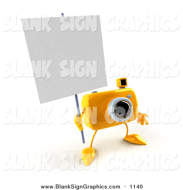 Vector Illustration of a 3d Yellow Camera Boy Character Holding up a Blank Sign over White
