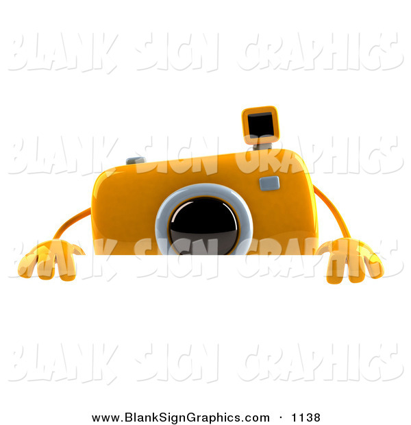 Vector Illustration of a 3d Yellow Camera Boy Character Standing Behind a Blank White Sign