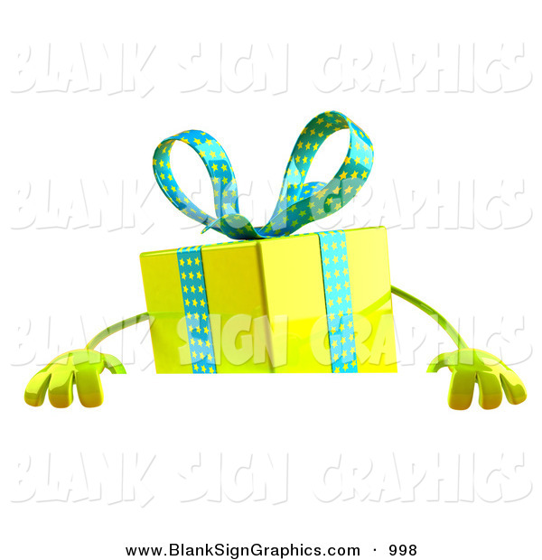 Vector Illustration of a 3d Yellow Present Character Standing Behind a Blank Sign on White