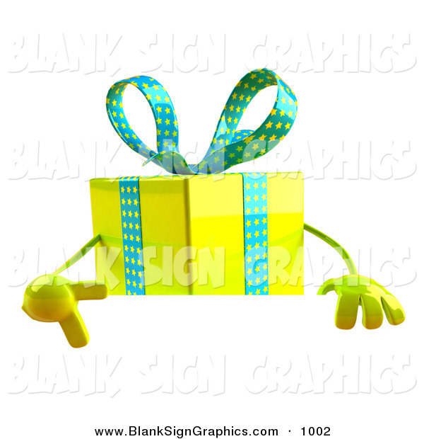 Vector Illustration of a 3d Yellow Present Character Standing Behind a Blank Sign over White