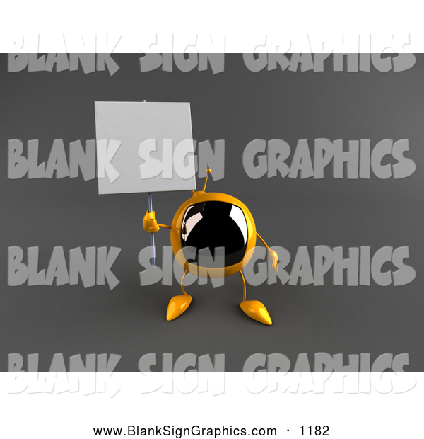 Vector Illustration of a 3d Yellow Square Television Character Holding up a Blank Sign on Gray