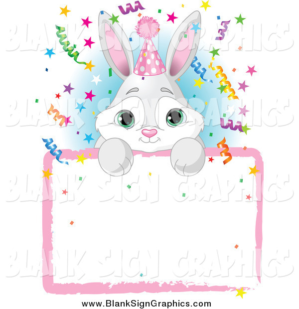 Vector Illustration of a Adorable Gray and White Bunny Wearing a Party Hat and Looking over a Blank Party Sign with Colorful Confetti