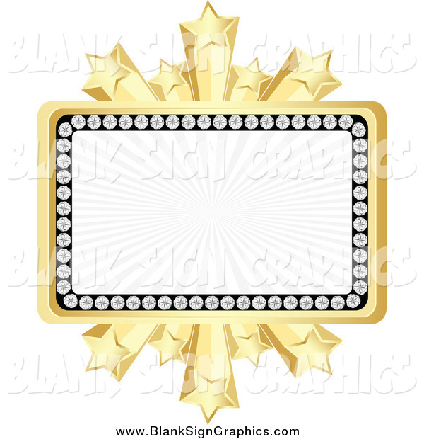 Vector Illustration of a Banner Bordered in Diamonds and Gold Bursting Stars