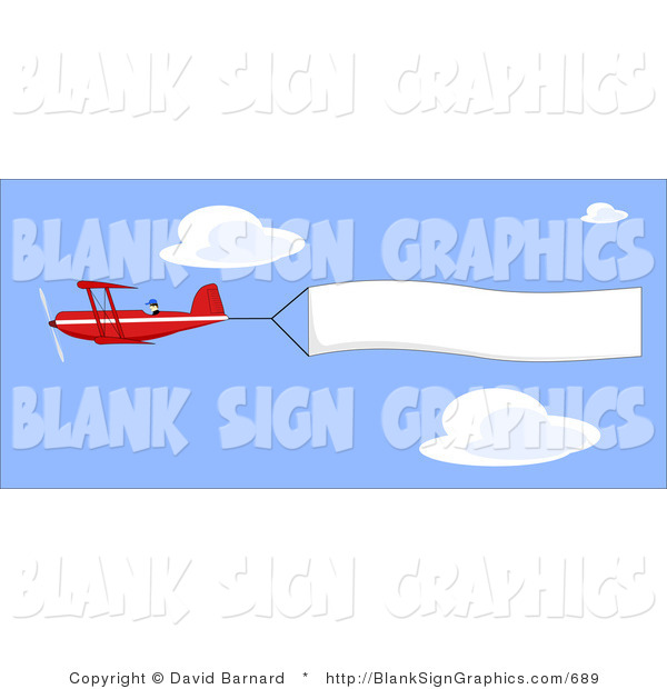 Vector Illustration of a Biplane and Blank Sign