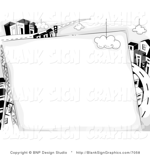 Vector Illustration of a Black and White Blank Sign Against a Highway and Urban City