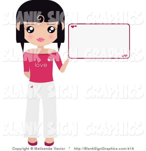 Vector Illustration of a Black Haired Woman Holding up a Blank Sign with Hearts on It