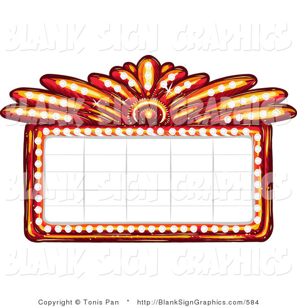 Vector Illustration of a Blank Casino or Theater Marquee Sign