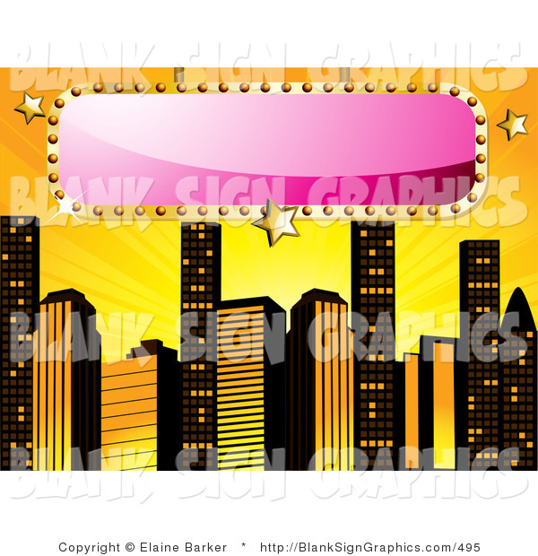 Vector Illustration of a Blank Pink Sign over a Yellow Background with Skyscrapers