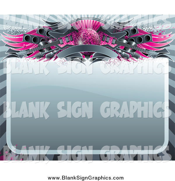 Vector Illustration of a Blank Sign Bordered with a Pink Disco Ball, Wings, Speakers, Guitars and a Banner