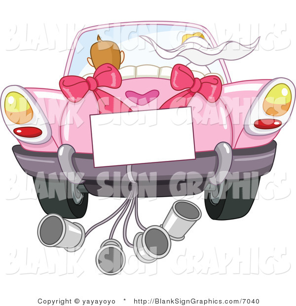 Vector Illustration of a Blank Sign on a Wedding Car with the Bride and Groom Driving Away