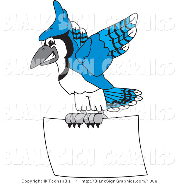 Vector Illustration of a Blue Jay Flying a Blank Sign
