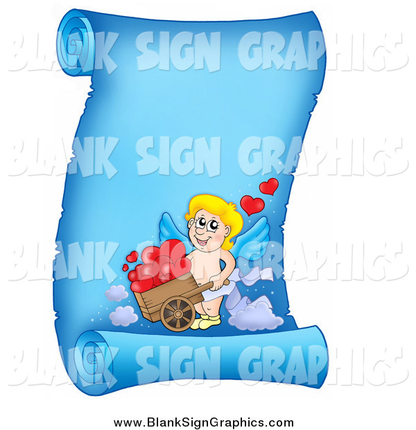 Vector Illustration of a Blue Parchment Page with Cupid and Hearts