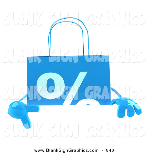 Vector Illustration of a Blue Percent Shopping Bag Pointing to and Standing Behind a Blank White Sign
