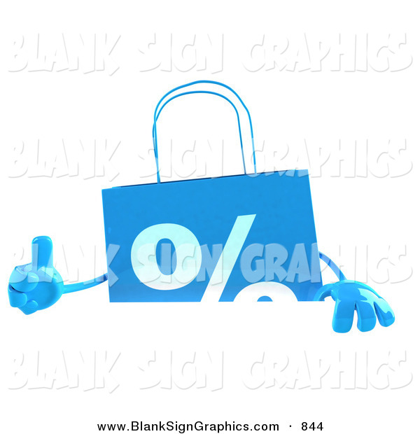 Vector Illustration of a Blue Shopping Bag Giving the Thumbs up and Standing Behind a Blank White Sign