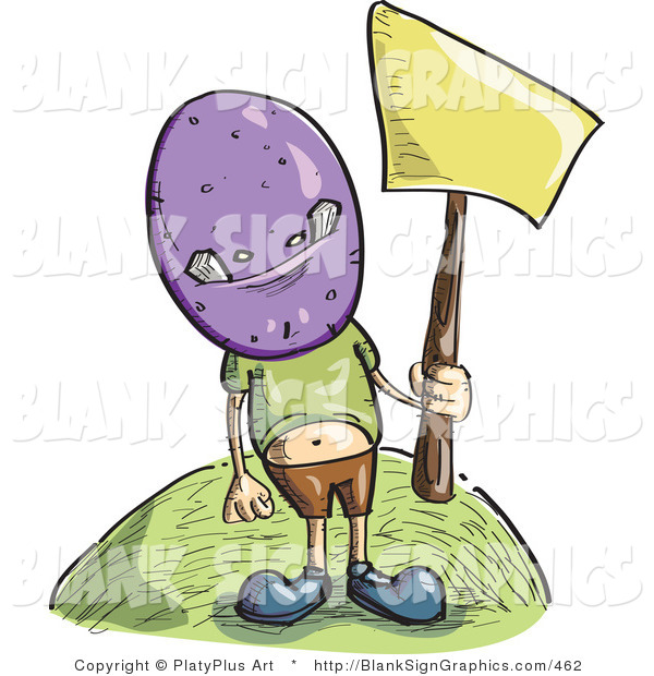Vector Illustration of a Boy Wearing a Purple Monster Mask and Holding up a Blank Sign