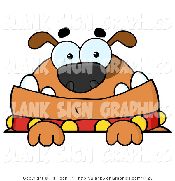 Vector Illustration of a Brown Bulldog Looking over a Blank Sign