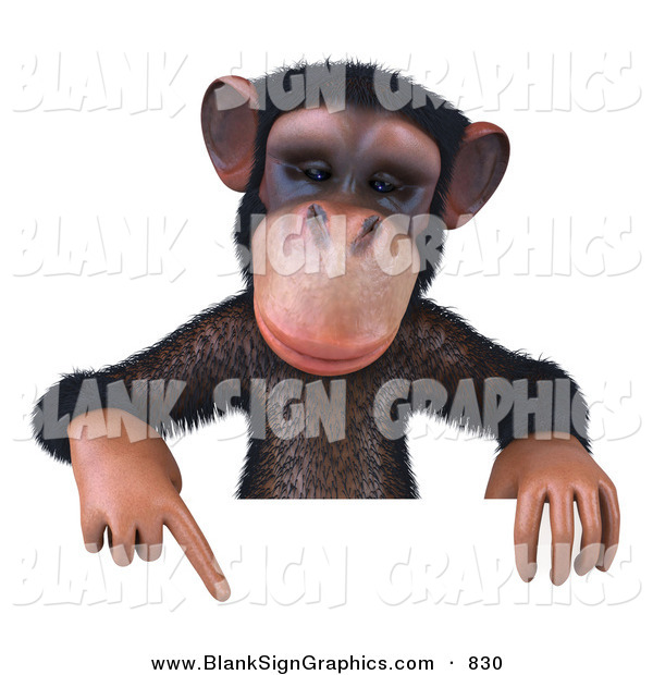 Vector Illustration of a Brown Chimp Character Pointing down at and Holding up a Sign