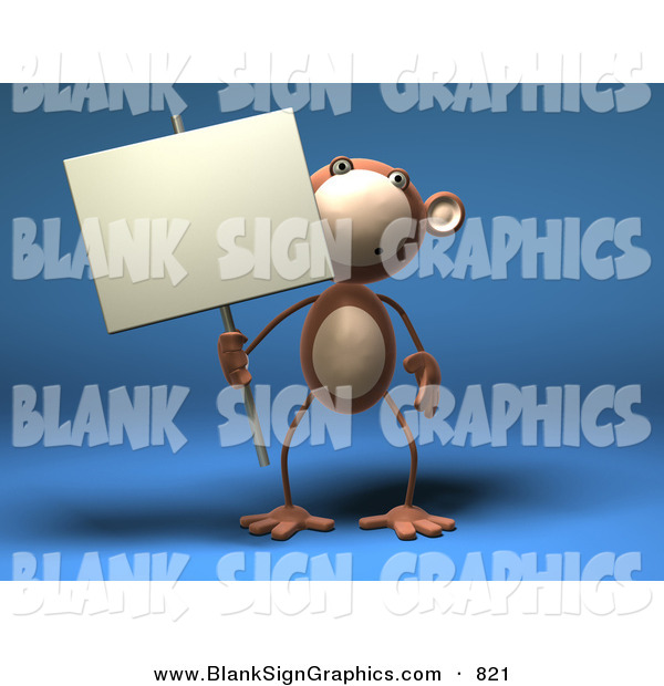 Vector Illustration of a Brown Monkey Character Holding a Sign on a Post on a Blue Background