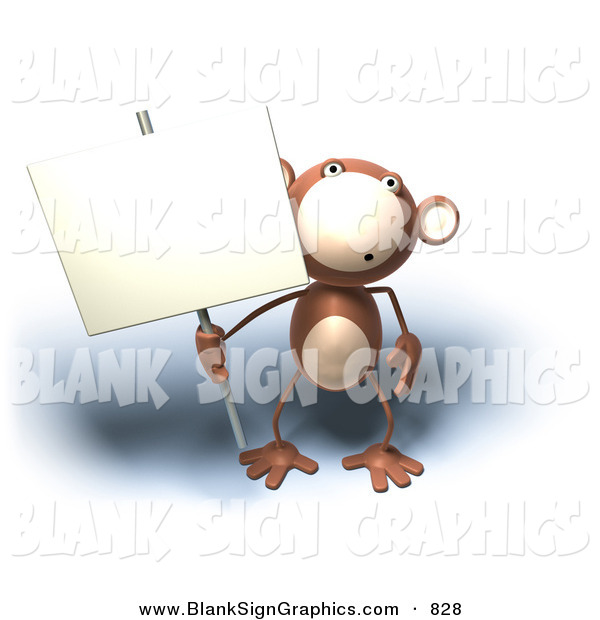 Vector Illustration of a Brown Monkey Character Holding a Sign on a Sign Post