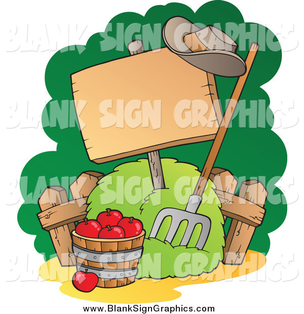 Vector Illustration of a Bushel of Red Apples, Pitchfork and Blank Sign