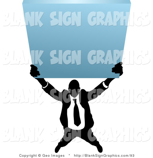 Vector Illustration of a Business Man Holding up a Blank Sign