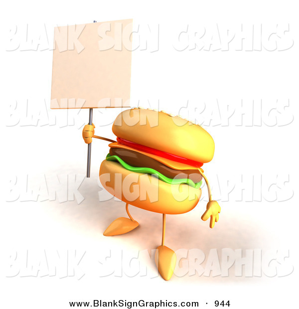 Vector Illustration of a Cartoon Cheeseburger Character Holding up a Sign on a Post on White