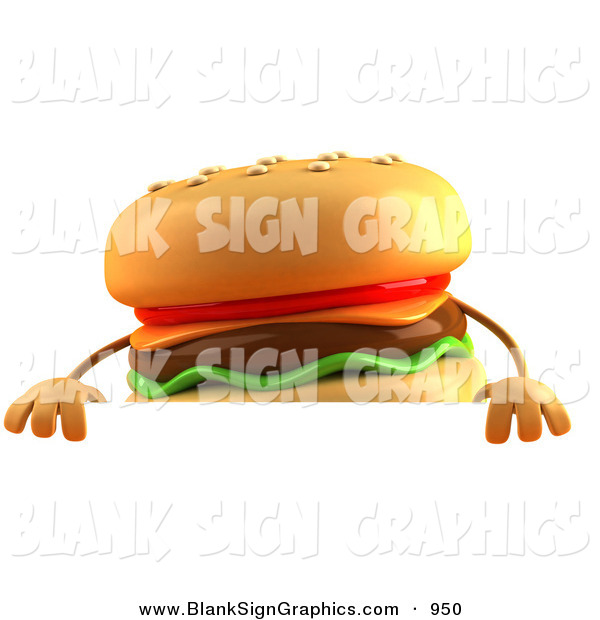 Vector Illustration of a Cartooon Cheeseburger Character Standing Behind a Blank Sign