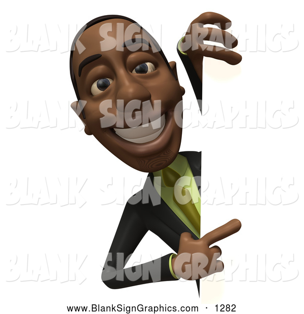 Vector Illustration of a Cheerful 3d Black Businessman Character Looking Around a Blank Sign