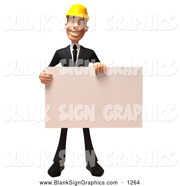 Vector Illustration of a Cheerful 3d Contractor Man Character Holding a Blank Sign
