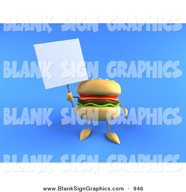 Vector Illustration of a Cheeseburger Character Holding up a Sign on a Post over Blue
